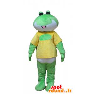 Maskot zelená žába, bílá a žlutá
