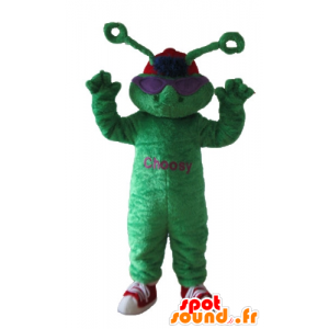 Green frog mascot, with extra terrestrial antennas