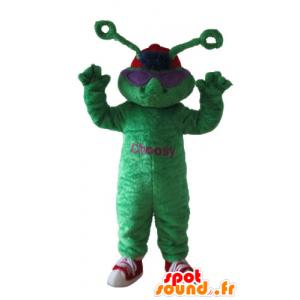 Maskot zelená žába, extra pozemní s anténami