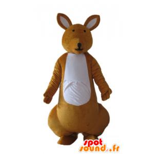 Oransje og hvit kenguru maskott, svært vellykket