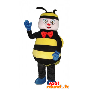 Mascot bee, wasp black and yellow with a red bow - MASFR23274 - Mascots bee