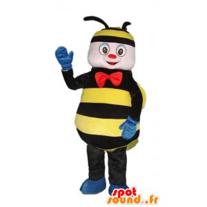 Maskottchen Biene, Wespe schwarz und gelb mit einer roten Schleife - MASFR23274 - Maskottchen Biene