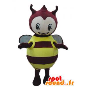 Maskotka żółty i czerwony robak, pulchny, okrągłe i słodkie - MASFR23277 - maskotki Insect
