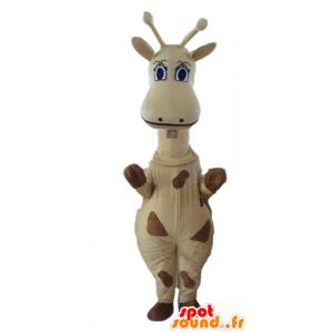 Mascotte de girafe jaune et marron, géante