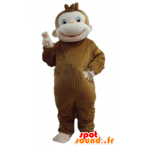 Maskotka małpa brązowy i różowy, bardzo miły i uśmiechnięty - MASFR23284 - Monkey Maskotki