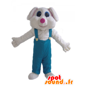 Hvid kaninmaskot, i grøn overall - Spotsound maskot kostume
