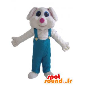 White rabbit mascot in green overalls - MASFR23294 - Rabbit mascot