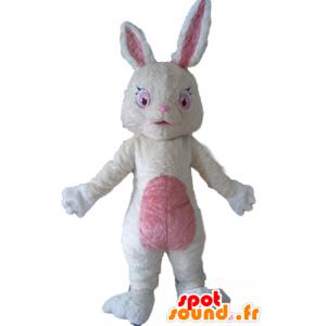 Maskotti Pehmo kani valkoista ja vaaleanpunaista, pörröinen - MASFR23295 - maskotti kanit