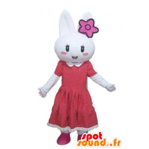 White Rabbit maskotti punainen mekko pilkkuja - MASFR23296 - maskotti kanit