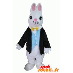 Valkoinen pupu maskotti, pukeutunut tyylikäs puku - MASFR23297 - maskotti kanit