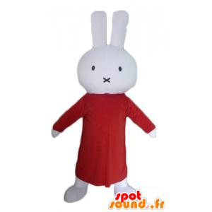 Plysch kaninmaskot, vit, med en lång röd klänning - Spotsound