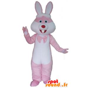 Vaaleanpunainen ja valkoinen pupu maskotti, jättiläinen - MASFR23301 - maskotti kanit