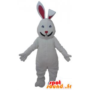 Mascotte de grand lapin blanc et rouge, mignon et séduisant - MASFR23302 - Mascotte de lapins