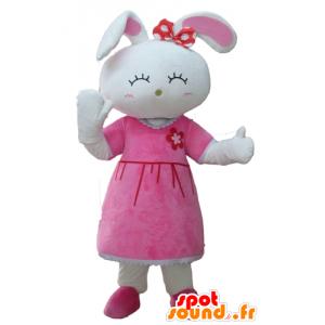 Maskot söt vit kanin, klädd i en rosa klänning - Spotsound