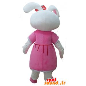 Maskotti söpö valkoinen jänis, pukeutunut vaaleanpunainen mekko - MASFR23305 - maskotti kanit