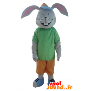 Gray rabbit mascot, smiling, with a colorful outfit - MASFR23308 - Rabbit mascot