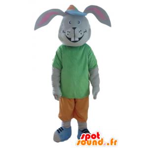 Mascota conejo gris, sonriente, con un traje colorido - MASFR23308 - Mascota de conejo