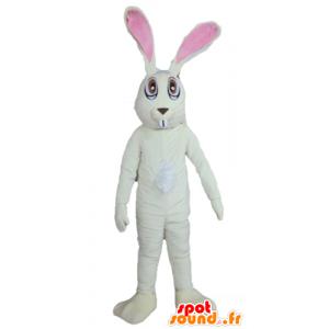 Mascotte grande coniglio bianco e rosa, molto divertente - MASFR23309 - Mascotte coniglio