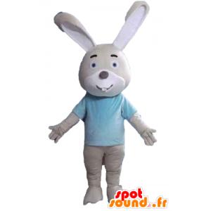 Maskot beige og hvid kanin med en blå t-shirt - Spotsound