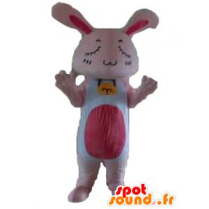 Vaaleanpunainen ja valkoinen pupu maskotti, jättiläinen, silmät kiinni - MASFR23313 - maskotti kanit