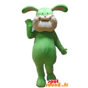 Mascotte de lapin vert et beige, tout doux et mignon