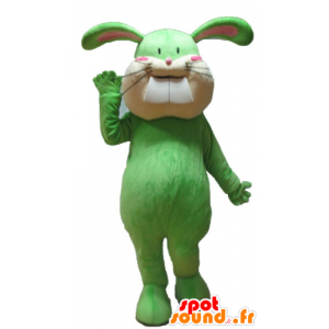 Verde e mascotte coniglio beige, morbido e carino