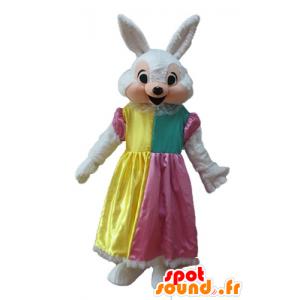 Hvid og lyserød kaninmaskot med prinsessekjole - Spotsound
