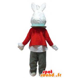 White Rabbit maskotti punainen takki ja harmaat housut - MASFR23324 - maskotti kanit