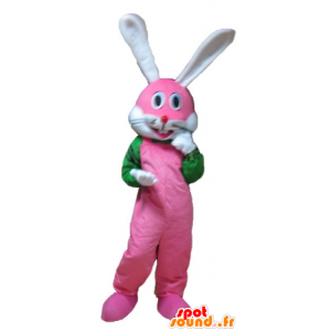 Pink bunny mascot, white and green, very smiling