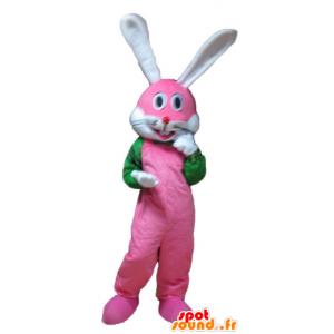Różowy królik maskotka, biały i zielony, bardzo uśmiechnięci