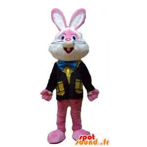Rosa og hvit kanin maskot med en fargerik vest - MASFR23327 - Mascot kaniner