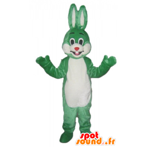 Mascotte coniglio verde e nero, sorridente e originale