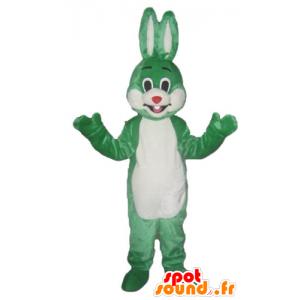 Vihreä ja valkoinen pupu maskotti, hymyilevä ja alkuperäinen