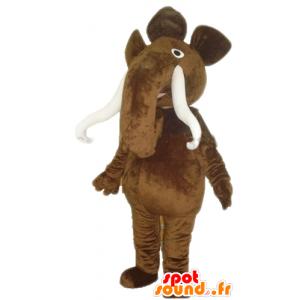Maskotti iso ruskea mammutti, suuret syöksyhampaat - MASFR23350 - Mascottes animaux disparus