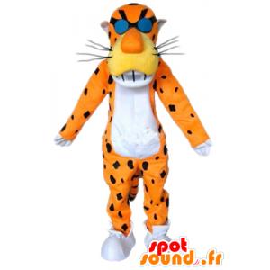 Orange Tiger-Maskottchen, Schwarz und Weiß, mit Brille - MASFR23352 - Tiger Maskottchen