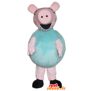 Maskot stor lyserød og grøn gris, fyldig og sjov - Spotsound