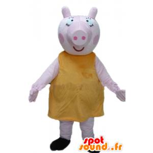 Big rosa Schwein-Maskottchen mit eine gelbe Farbe, prall und lustig - MASFR23356 - Maskottchen Schwein