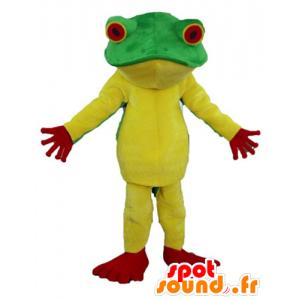 Gele kikker mascotte, rood en groen, zeer succesvol