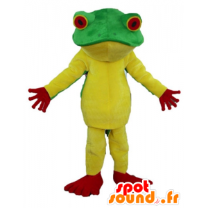 Gul frosk maskot, rødt og grønt, veldig vellykket