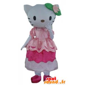 La mascota del famoso gato de Hello Kitty en vestido rosa