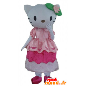 Maskot slavný kočka Hello Kitty růžové šaty