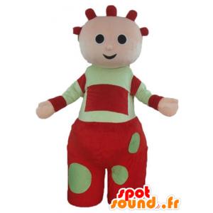 Mascotte de poupée, de poupon géant, rouge et vert