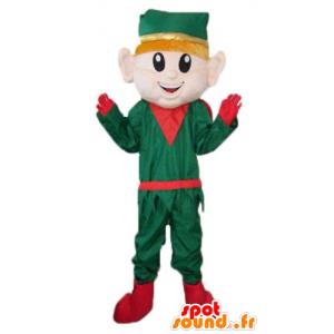 Elfo Mascot, vestido verde duende de Navidad y rojo