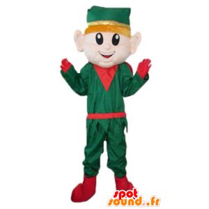 Mascotte d'elfe, de lutin de Noël, en tenue verte et rouge