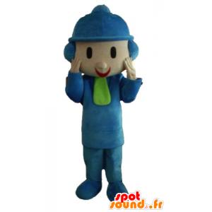 Mascote criança vestida em trajes de inverno com um chapéu - MASFR23369 - mascotes criança