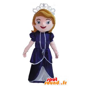 Královna maskot cartoon princezna