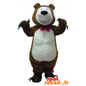 Maskotti karhu, ruskea ja valkoinen nalle kynnet - MASFR23391 - Bear Mascot