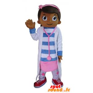 Jente maskot, lege, sykepleier, rosa og blå - MASFR23396 - Maskoter gutter og jenter