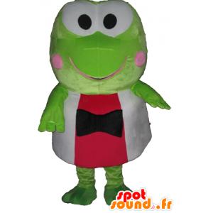 Mascot grønn frosk, veldig morsomt i rødt og hvitt - MASFR23398 - Forest Animals