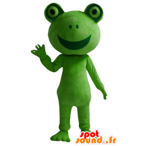 Maskot zelená žába, obra s úsměvem